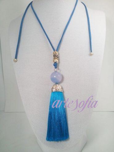 Collar bola Agata y Fleco Azul. Artesofia.