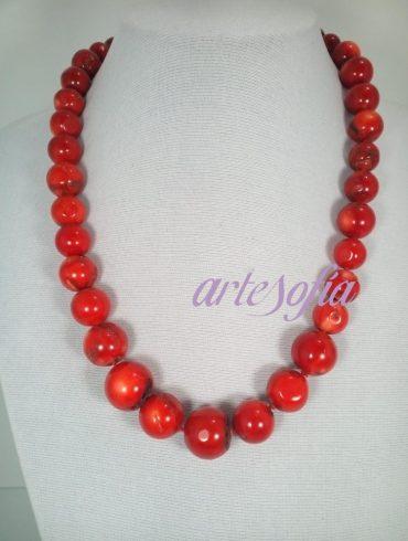 Collar Coral Bambu. Artesofia.