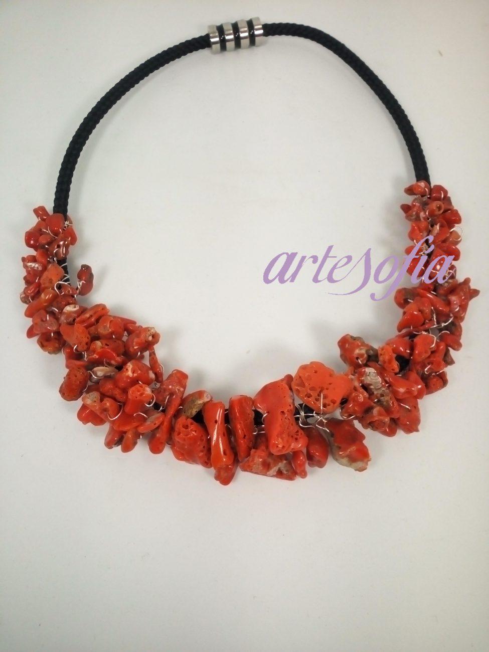 Collar Coral Natural Italiano. Artesofia.