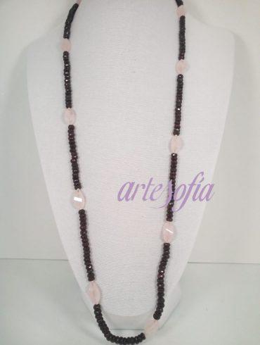 Collar Granates y Cuarzo Rosa. Artesofia.
