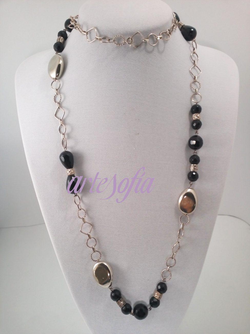Collar Plata y Onix Negro. Artesofia