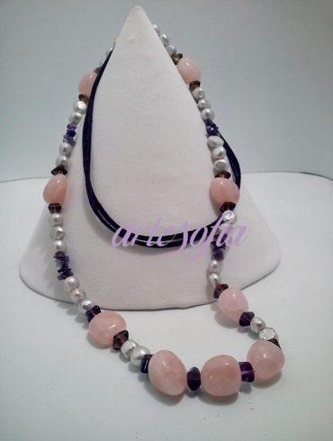Collar Perla y Cuarzo Rosa