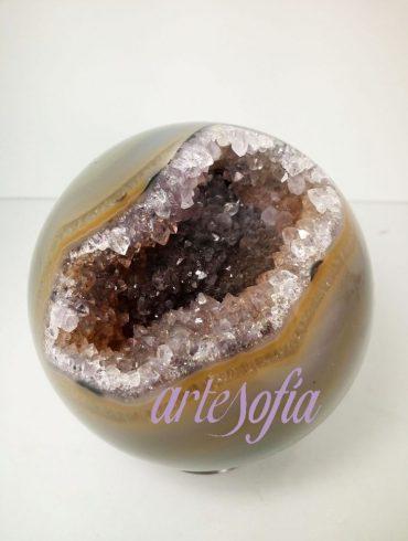 Esfera ágata cristalizada. Artesofía