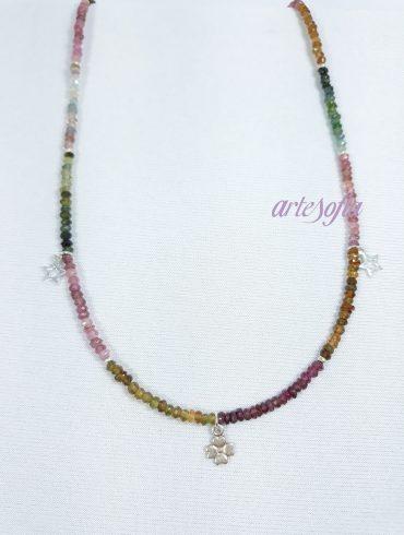 Gargantilla Turmalina Multicolor con colgantes Plata