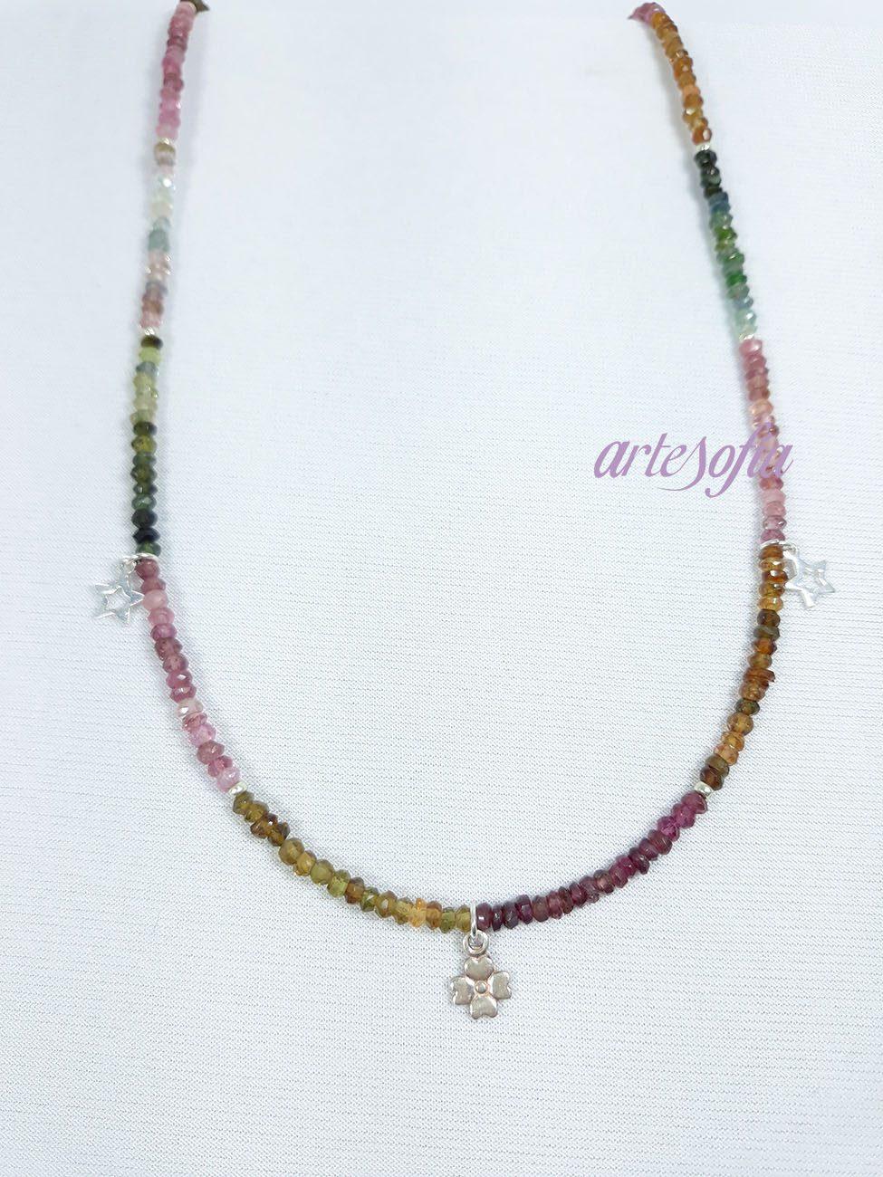 Gargantilla Turmalina Multicolor con colgantes Plata. Artesofía.