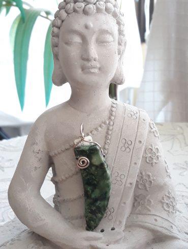 Colgante Fuchsita Verde y Plata de Ley