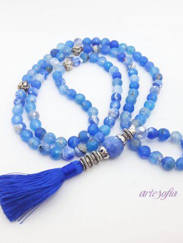 Collar Mala Meditación Agata Azul