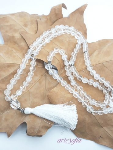 Collar Mala Meditación Cuarzo Cristal