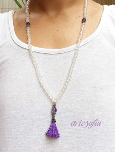 Collar Mala Meditación Cuarzo y Amatista.