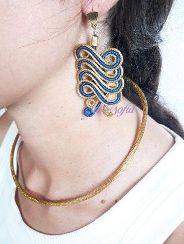 Pendientes Capim Trenza Oro-Azul