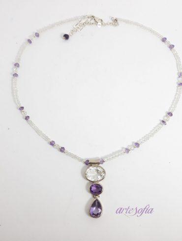 Collar Gargantilla Amatista, Cuarzo y plata
