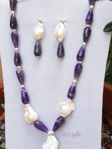 Collar Amatista y Perla con plata