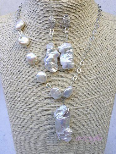Collar plata y perlas barrocas